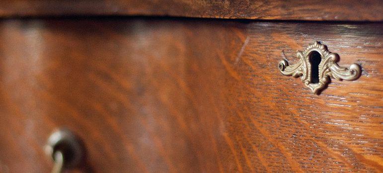 Antique dresser - closeup image, keyhole