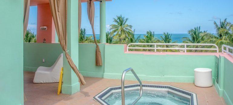 A balcony hot tub