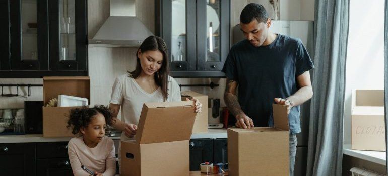 Family preparing for relocating with one of the best moving companies Maryland