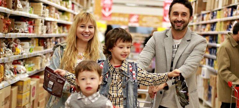 a family shopping
