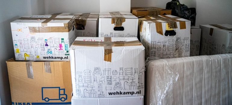 A bunch of moving boxes