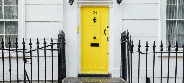 yellow front door of a Philadelphia home