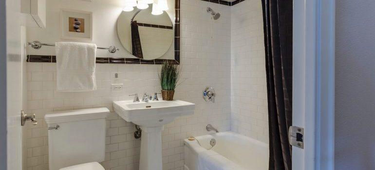 dimly lit ceramic bathroom